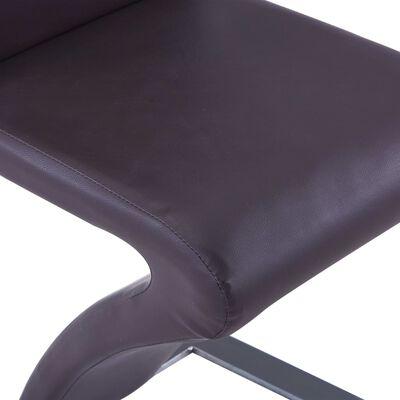 vidaXL Esszimmerstühle in Zick-Zack-Form 4 Stk. Braun Kunstleder