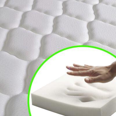 vidaXL Bett mit LED und Memory-Schaum-Matratze Taupe Stoff 90x200 cm