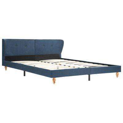vidaXL Bett mit Matratze Blau Stoff 180 x 200 cm