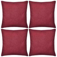 4 burgunderrote Kissenbezüge Baumwolle 80 x 80 cm