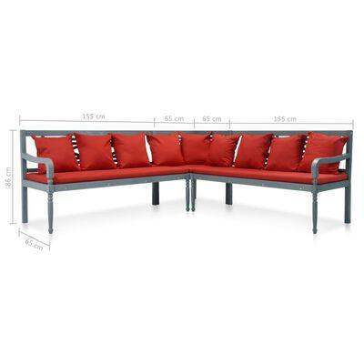 vidaXL 4-tlg. Garten-Lounge-Set Massivholz Akazie Grau und Rot