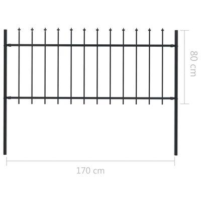vidaXL Gartenzaun mit Speerspitzen Stahl 17 x 0,8 m Schwarz