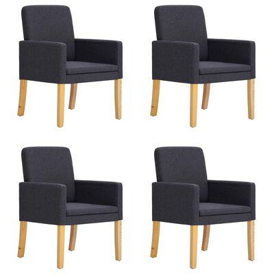 vidaXL Esszimmerstühle 4 Stk. Dunkelgrau Stoff