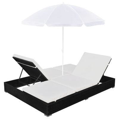 vidaXL Outdoor-Loungebett mit Sonnenschirm Poly Rattan Schwarz
