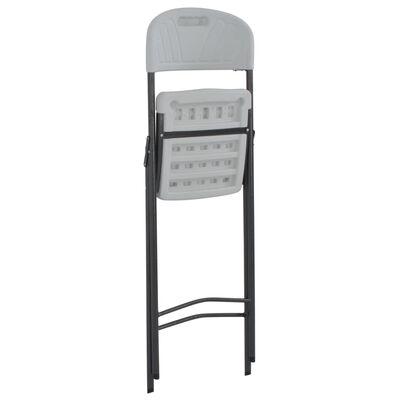 vidaXL Klappbare Barstühle 2 Stk. HDPE und Stahl Weiß