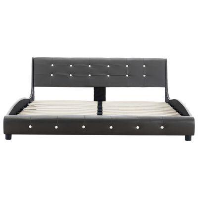 vidaXL Bett mit Matratze Grau Kunstleder 160 x 200 cm