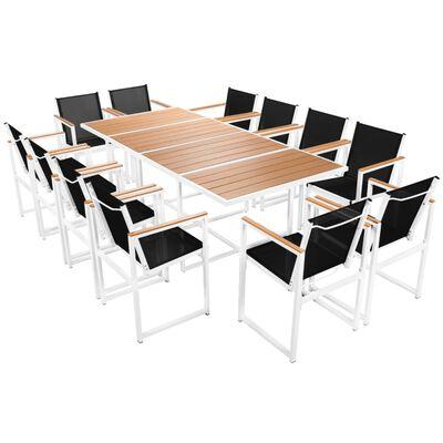 vidaXL 13-tlg. Garten-Essgruppe mit WPC-Tischplatte Aluminium