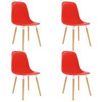 vidaXL Esszimmerstühle 4 Stk. Rot Kunststoff