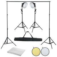 vidaXL Fotostudio-Set mit Studiolampe, Hintergrund und Reflektor