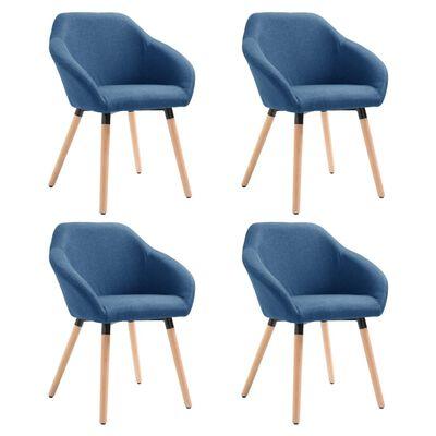 vidaXL Esszimmerstühle 4 Stk. Blau Stoff