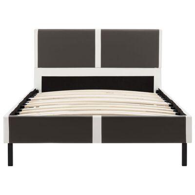 vidaXL Bett mit Matratze Grau und Weiß Kunstleder 90 x 200 cm