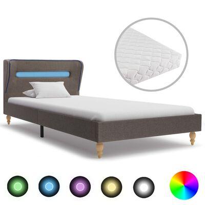 vidaXL Bett mit LED und Matratze Taupe Stoff 90 x 200 cm