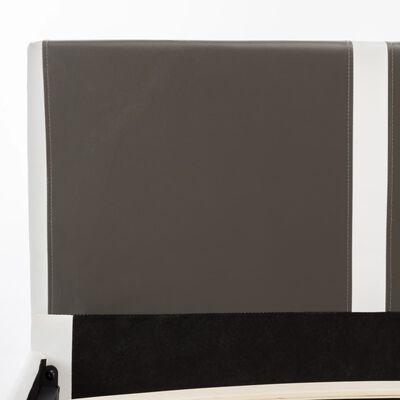 vidaXL Bett mit Matratze Grau und Weiß Kunstleder 180 x 200 cm