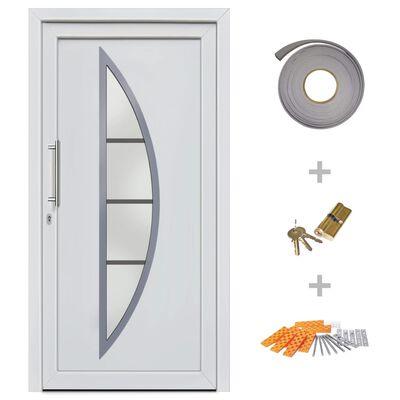 vidaXL Haustür Weiß 88×200 cm