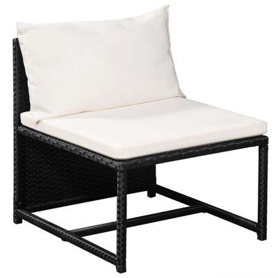 vidaXL 6-tlg. Garten-Lounge-Set mit Auflagen Poly Rattan Schwarz
