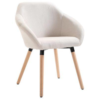 vidaXL Esszimmerstühle 4 Stk. Cremeweiß Stoff